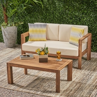 Genser Outdoor 2 Seater Wooden Loveseat and Coffee Table Chat Set with Cushions by Christopher Knight Home