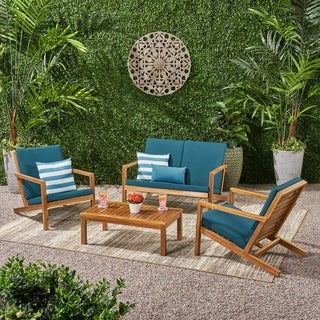 Leah Outdoor 4 Seater Chat Set with Cushions by Christopher Knight Home
