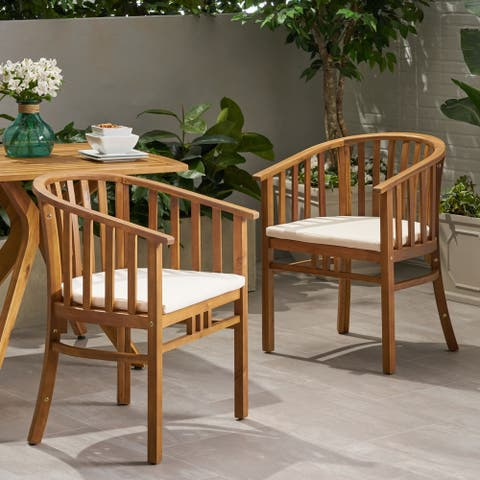 Alondra Outdoor Wooden Dining Chairs with Cushions (Set of 2) by Christopher Knight Home - N/A