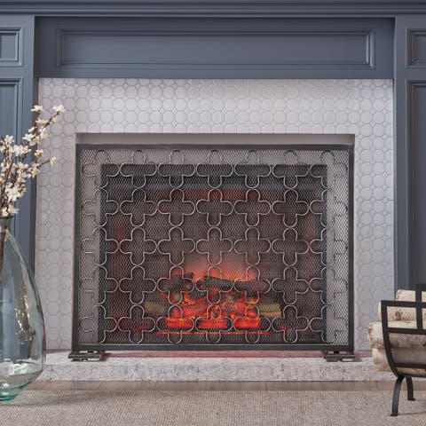 Alleghany Modern Single Panel Fireplace screen by Christopher Knight Home