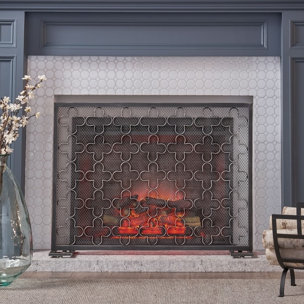 Alleghany Modern Single Panel Fireplace screen by Christopher Knight Home. Opens flyout.