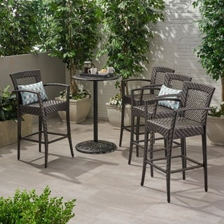 Christopher Knight Home Farley Outdoor Wicker Barstool (Set of 4)