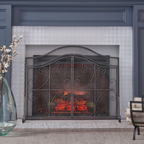 Pendleton Modern Three Panel Iron Firescreen with Door by Christopher Knight Home