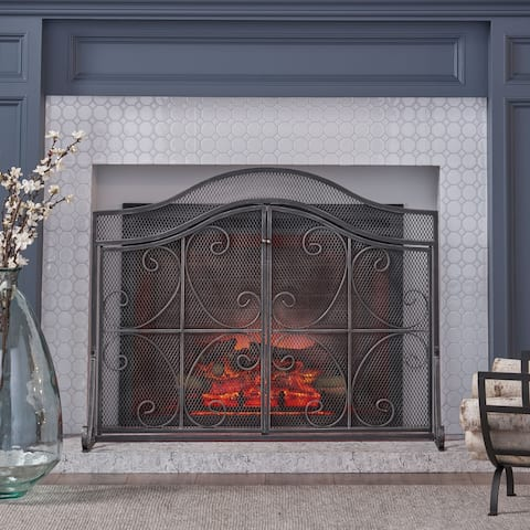 Pendleton Modern Three Panel Fireplace screen with Door by Christopher Knight Home