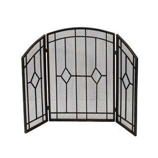 Gilmer Contemporary Three Panel Fireplace screen by Christopher Knight Home - N/A (Black Gold Finish)
