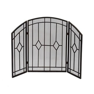 Gilmer Contemporary Three Panel Fireplace screen by Christopher Knight Home - N/A (Black Copper Finish)