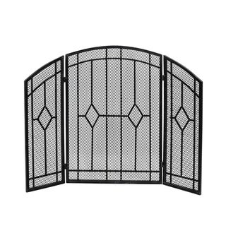 Gilmer Contemporary Three Panel Fireplace screen by Christopher Knight Home - N/A (Black Silver Finish)