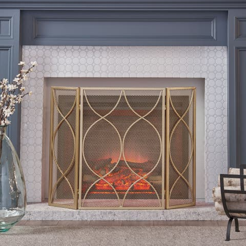 Pleasants Modern Three Panel Iron Firescreen by Christopher Knight Home