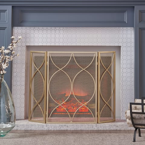 Christopher Knight Home Pleasants Iron 3-panel Modern Firescreen