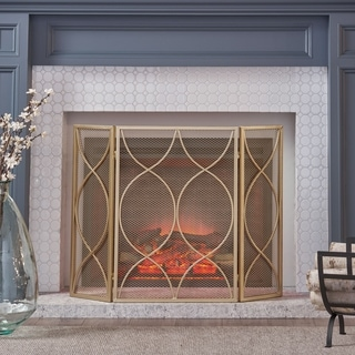 Pleasants Modern Three Panel Fireplace screen by Christopher Knight Home - 1.25W x 41.00L x 29.75H