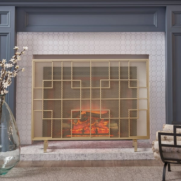 Alamance Modern Single Panel Fireplace screen by Christopher Knight Home. Opens flyout.