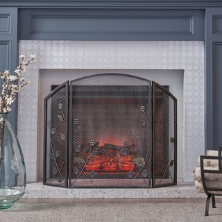 """Greenbrier Modern Fireplace screen with Leaf Accents by Christopher Knight Home - 31.00"""" H x 41.00"""" W x 1.25"""" D"""
