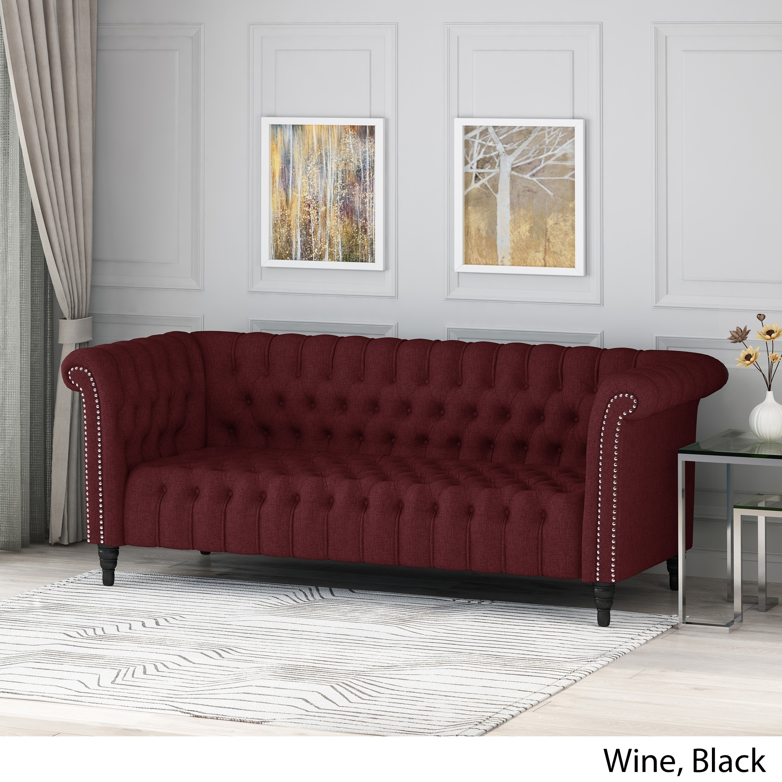 Details About Barneyville Traditional Chesterfield Sofa With Tufted  Cushions By Christopher