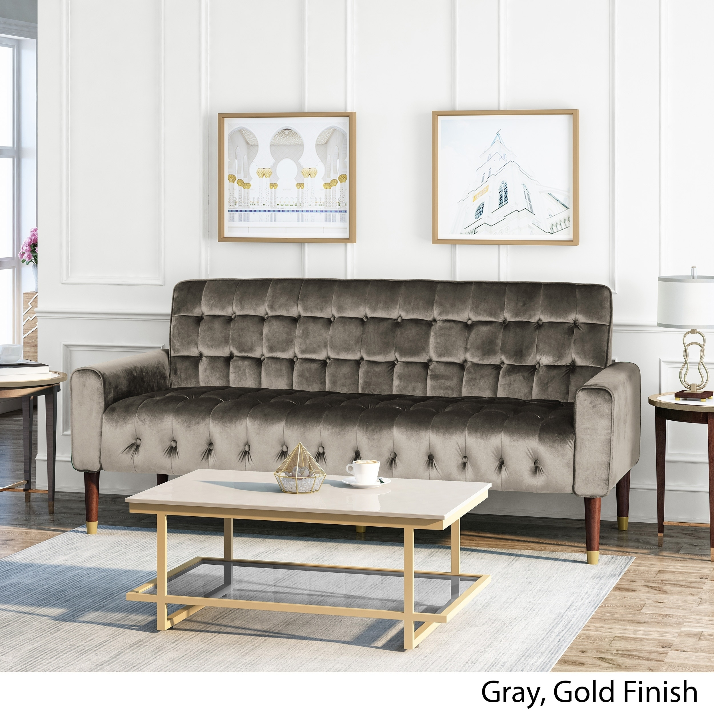 Christopher Knight Home Hertford Tufted Velvet Sofa with Gold Tipped  Tapered Legs