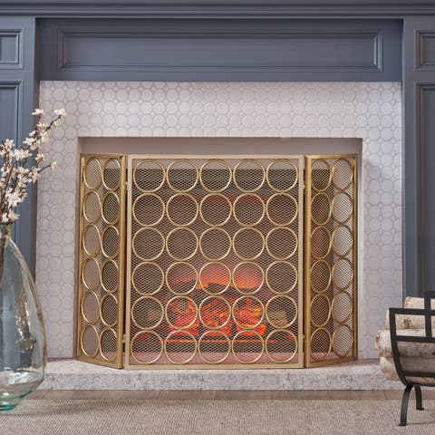 Christopher Knight Home Hartly Modern Brush-Finished Iron 3-Panel Foldable Firescreen