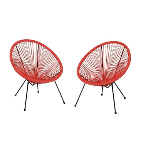 Anson Outdoor Hammock Weave Chair with Steel Frame (Set of 2) by Christopher Knight Home