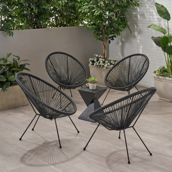 Anson Outdoor Hammock Weave Chair with Steel Frame (Set of 4) by Christopher Knight Home. Opens flyout.