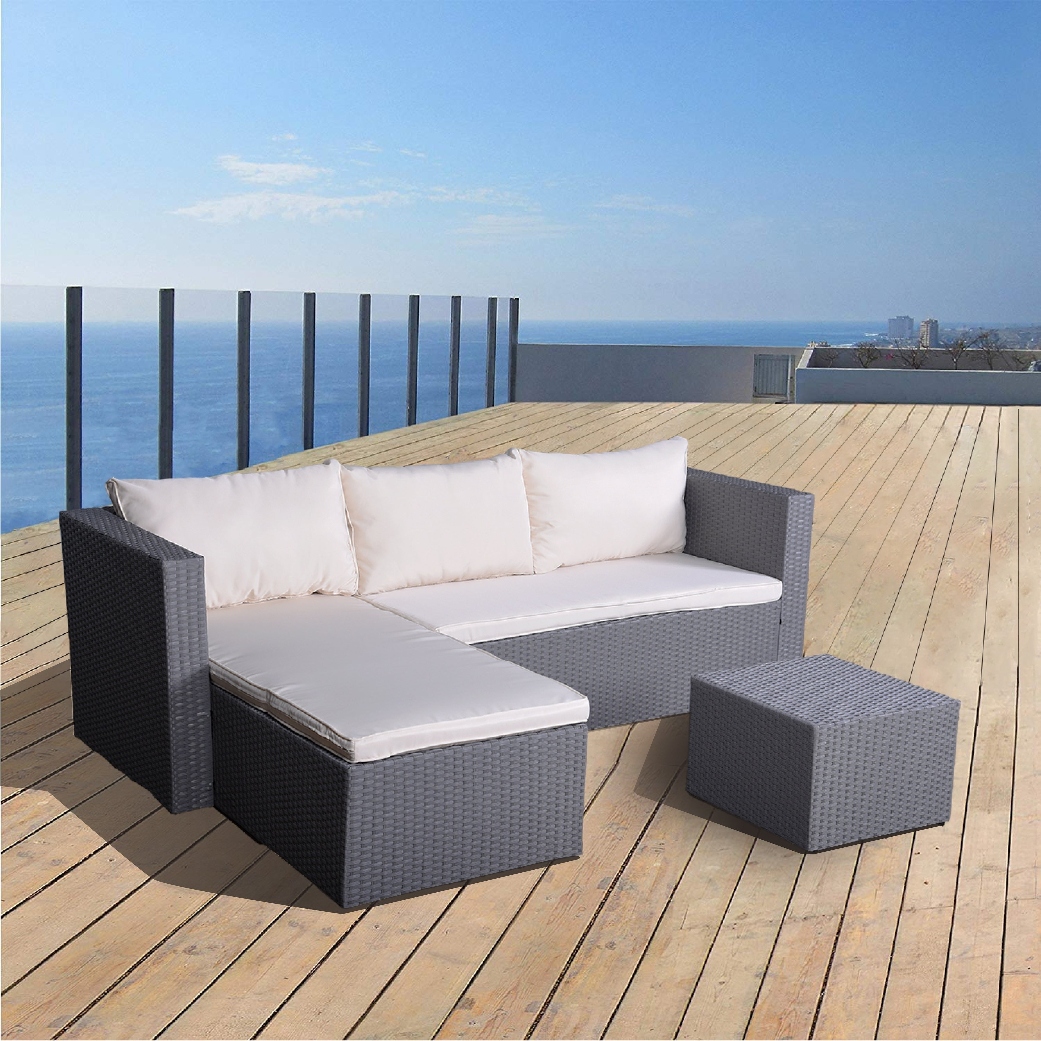 Enjoyable Ids White 3 Pieces Rattan Patio Chaise Lounge Set With Coffee Table Beatyapartments Chair Design Images Beatyapartmentscom
