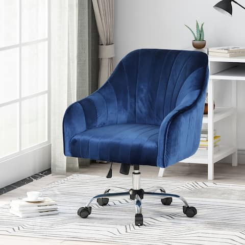Channeled Glam Velvet Home Office Chair with Swivel Base by Christopher Knight Home