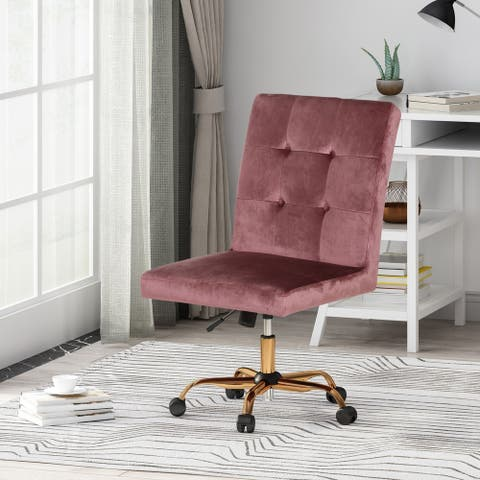 Centennial Glam Tufted Fabric Home Office Chair with Swivel Base by Christopher Knight Home