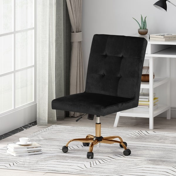 Centennial Glam Tufted Velvet Home Office Chair with Swivel Base by Christopher Knight Home