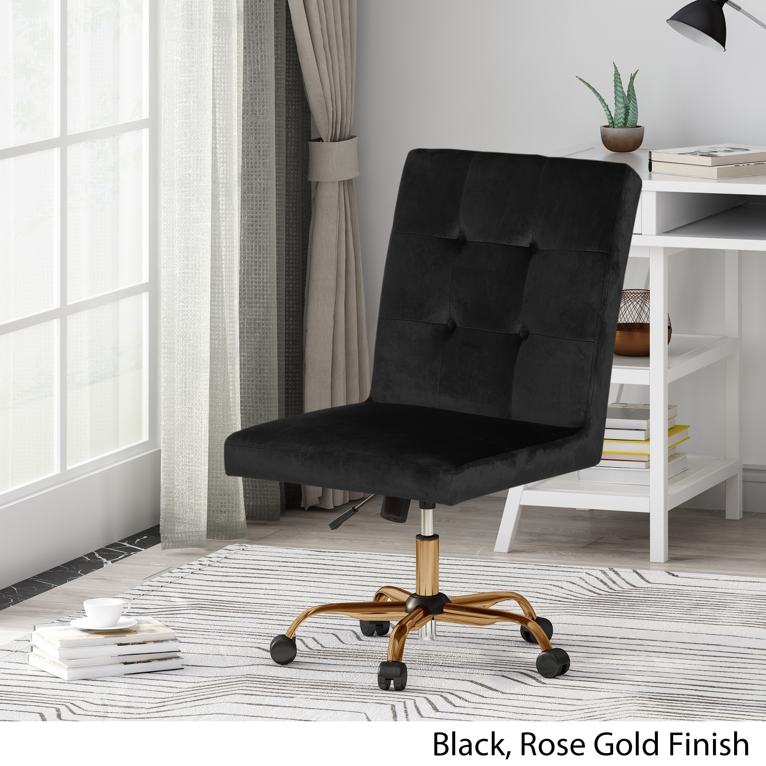 Shop Centennial Glam Tufted Velvet Home Office Chair With Swivel Base By Christopher Knight Home On Sale Overstock 27582306