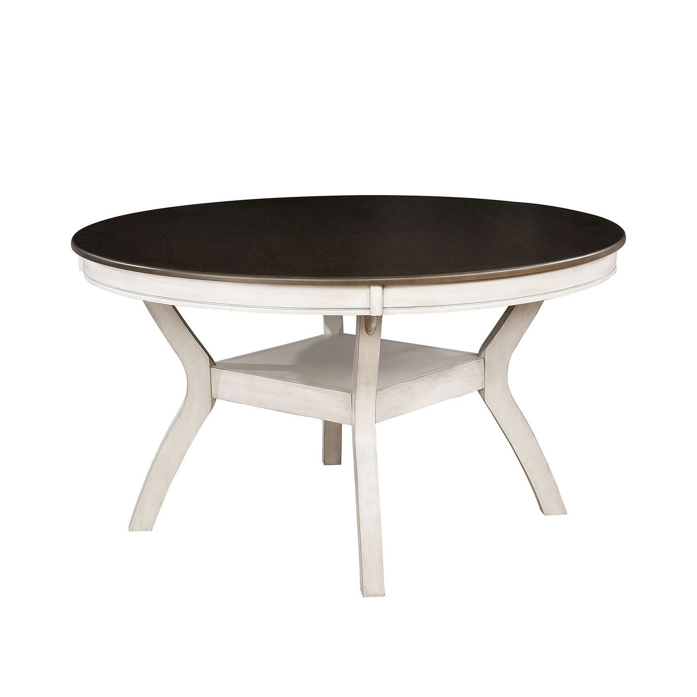sports shoes 94499 ff4ea Transitional Style Solid Wood Round Dining Table with Turned Legs, White  and Brown