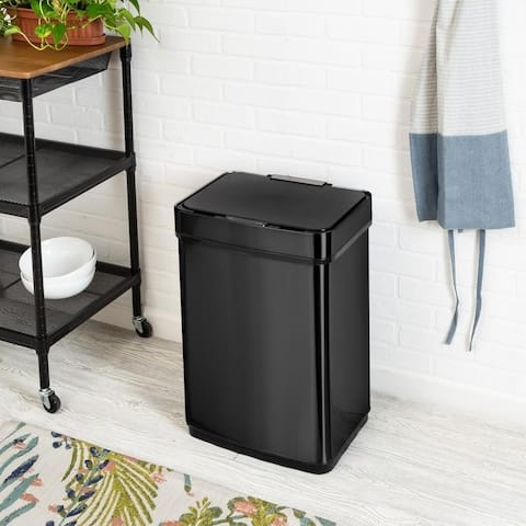 50L Black Stainless Steel Motion Sensor Trash Can