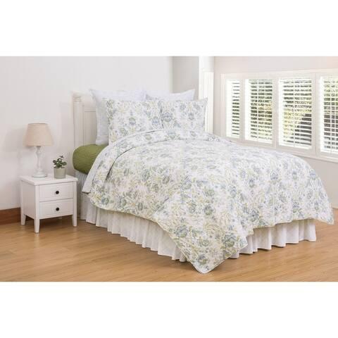 Opal Sky Reversible Cotton 3 Piece Quilt Set - Twin 2 Piece