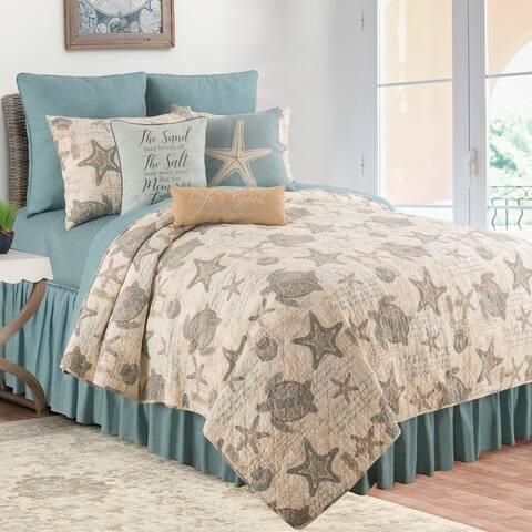 Amber Sands Coastal Reversible Cotton 3 Piece Quilt Set - Twin 2 Piece