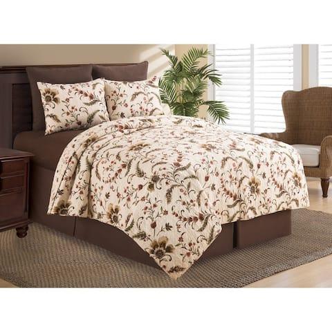 Autumn Bloom Reversible Cotton Quilt Set