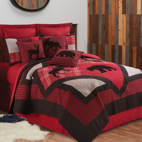 Russell Rustic Lodge Reversible Cotton 3 Piece Quilt Set - Twin 2 Piece