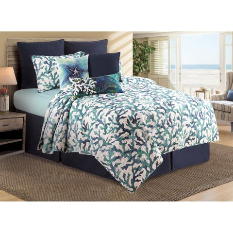 Aqua Reef Cotton 3 Piece Quilt Set