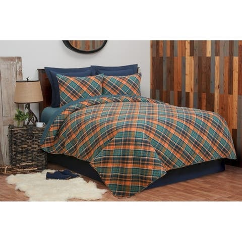 Troy Plaid Rustic Lodge Reversible Cotton 3 Piece Quilt Set - Twin 2 Piece