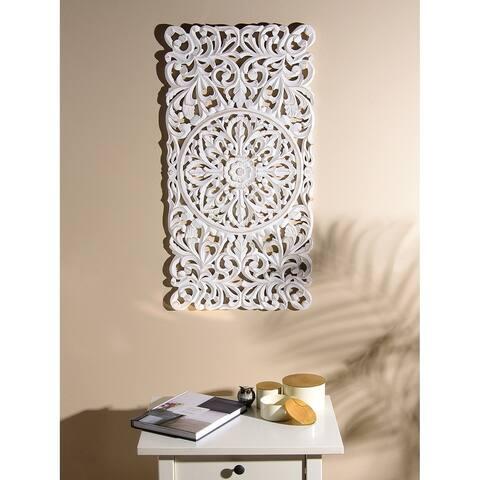 Aurora Home Whitewash Wood Rectangle Decorative Wall Panel