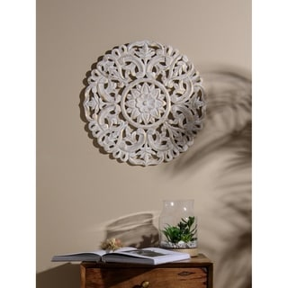 Link to Aurora Home Whitewash Wood Round Decorative Wall Panel Similar Items in Decorative Accessories