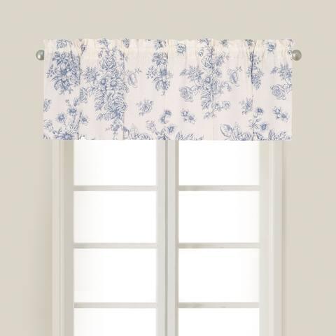 Nelly Blue Window Cotton Window Curtain Valances (Set of 2) - 15.5 x 72