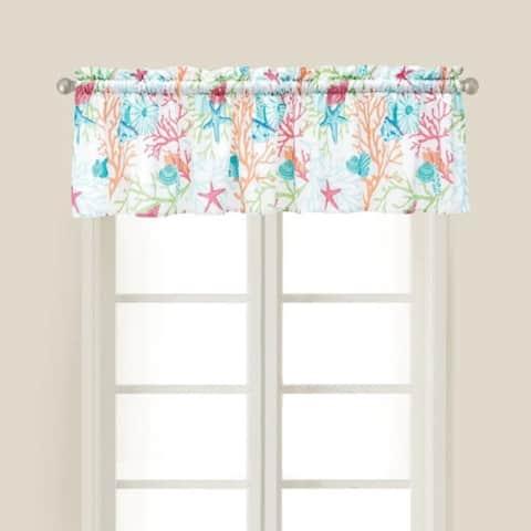 Caribbean Splash Window Cotton Window Curtain Valance (Set of 2) - 15.5 x 72