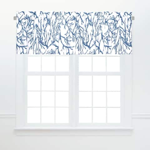 Oceanaire Blue Window Window Curtain Valances (Set of 2) - 15.5 x 72