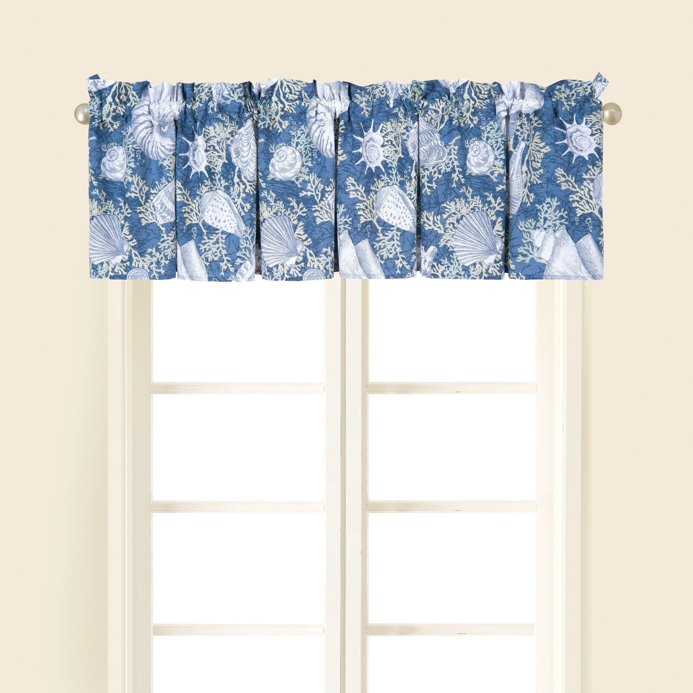 Seashell Coastal Tier and Valance Window Curtain Set 58x36