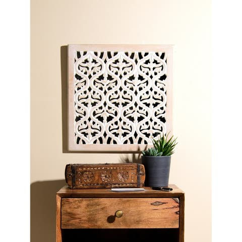 Aurora Home Whitewashed Wood Decorative Square Mirror Wall Panel