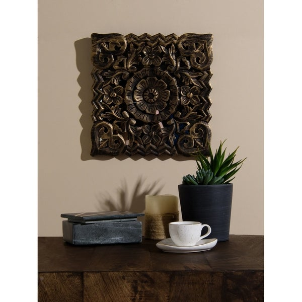 Aurora Home Brown Wood Square Rustic Decorative Wall Panel