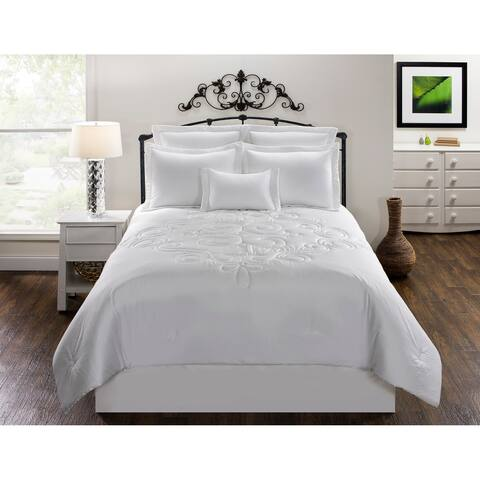 Waldorf Solid White Cotton comforter set