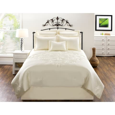 Waldorf Solid Cream Cotton comforter set