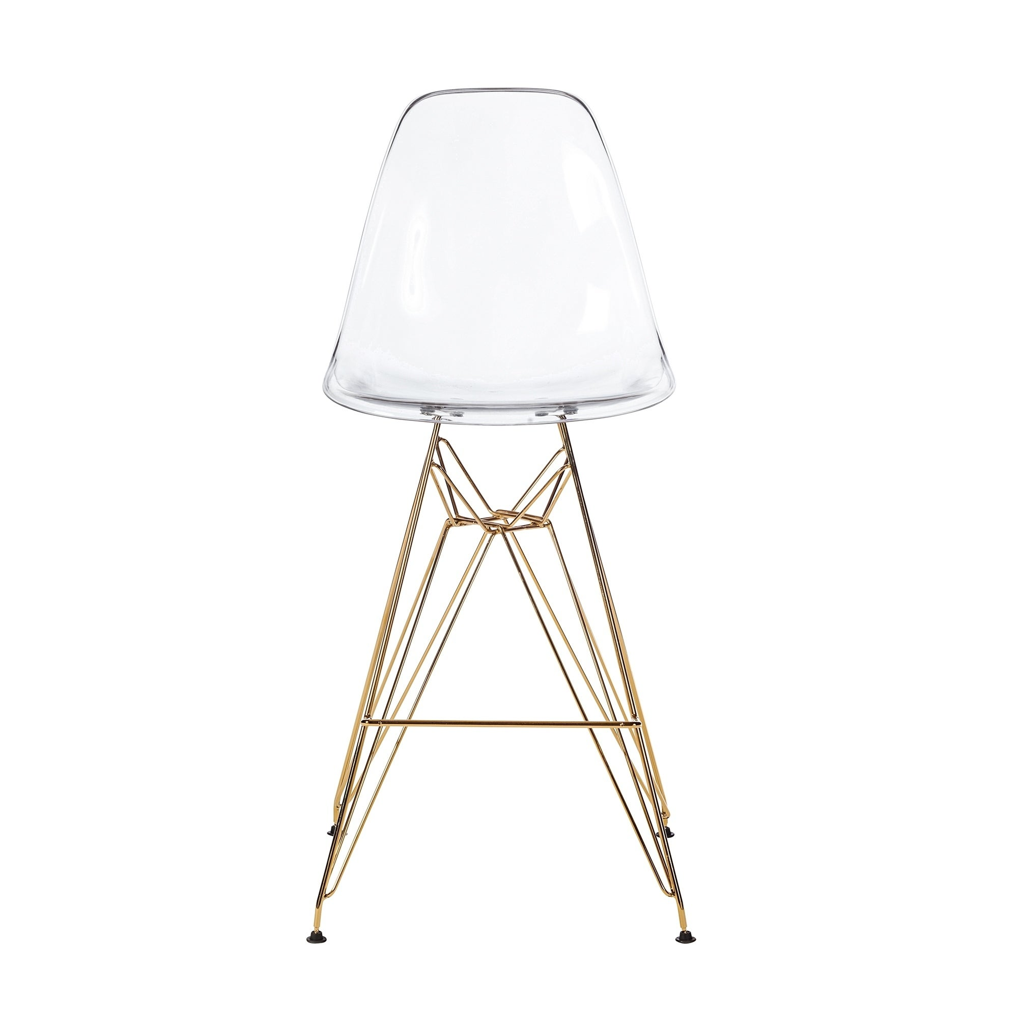 Admirable Molded Acrylic Counter Stool In Clear And Gold Finish Legs N A Inzonedesignstudio Interior Chair Design Inzonedesignstudiocom