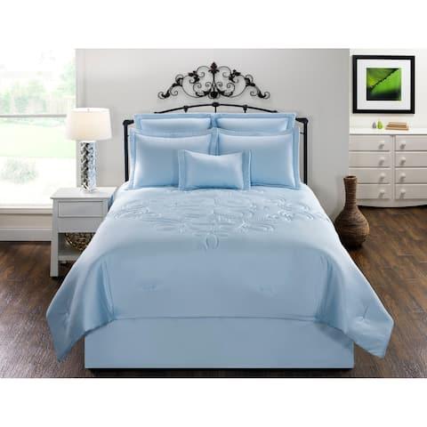 Waldorf Solid Blue Cotton comforter set