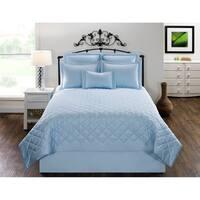 Carlyle Blue Solid Cotton Quilt set