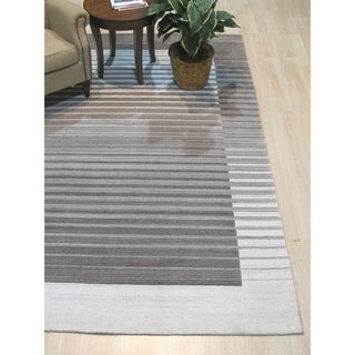 Link to Ivory/Charcoal Stripe Handmade Urban Rug - 8' x 10' Similar Items in Rustic Rugs
