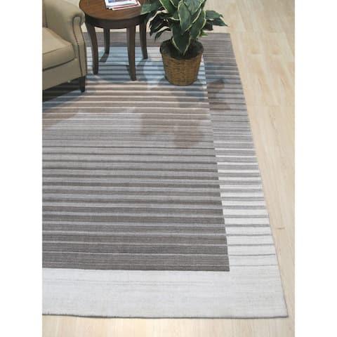 Ivory/Charcoal Stripe Handmade Urban Rug - 10' x 14'