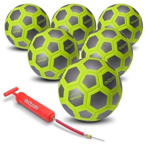 GoSports ELITE Futsal Ball 6 Pack - Indoor or Outdoor FUTSAL Games or Practice  Includes Pump and Carry Bag